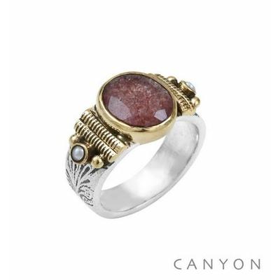 Bague argent 925 petit modèle quartz fraise ovale et 2 perles blanches - Canyon