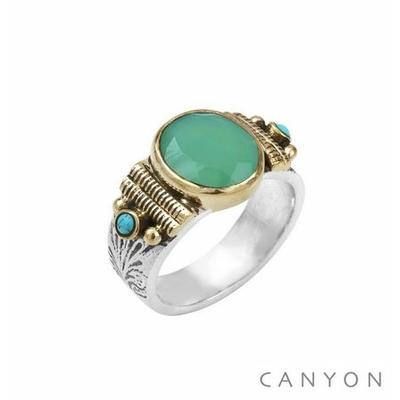 Bague argent 925 petit modèle chrysoprase ovale et 2 turquoises reconstituées  - Canyon