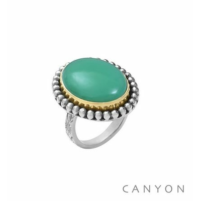 Bague argent grand chrysoprase ovale - Canyon