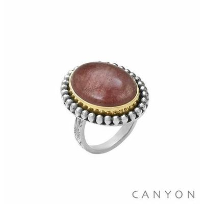 Bague argent grand quartz fraise ovale - Canyon