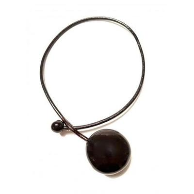 collier céramique galet noir cuir 4mm long 42cm gévole