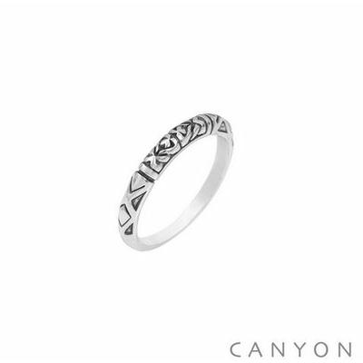 Bague argent anneau gravé oxydé - Canyon