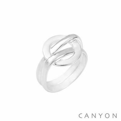 Bague argent cercle plat emmêlé à 2 anneaux - Canyon