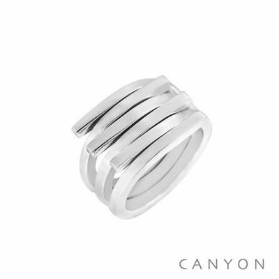 Bague argent 3 X 2 anneaux plats ouverts empilés - Canyon