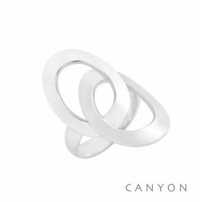 Bague argent 2 grands ovales plats - Canyon