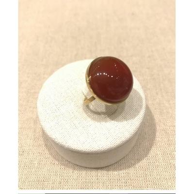 Bague fine réglable pierre agate rouge acier inoxydable doré - Mile Mila