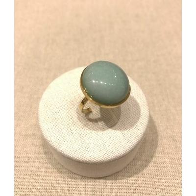 Bague fine réglable pierre fluorite verte acier inoxydable doré - Mile Mila