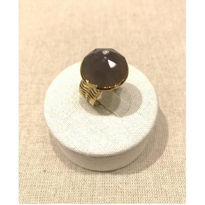 Bague réglable pierre lilac acier inoxydable doré - Mile Mila
