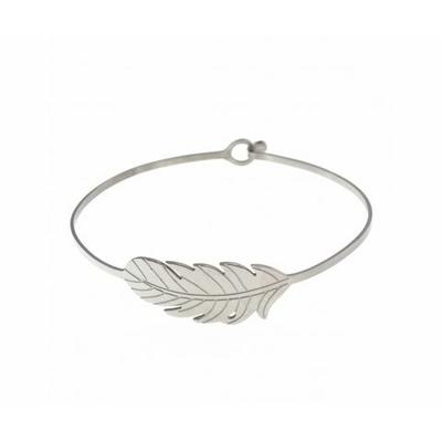 Bracelet jonc feuille acier inoxydable argent - Mile Mila