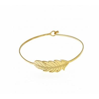 Bracelet jonc feuille acier inoxydable doré- Mile Mila
