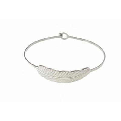 Bracelet jonc plume acier inoxydable argent - Mile Mila