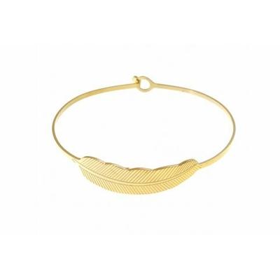 Bracelet jonc plume acier inoxydable doré - Mile Mila