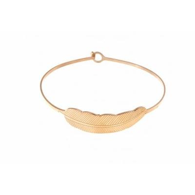 Bracelet jonc plume acier inoxydable or rose - Mile Mila