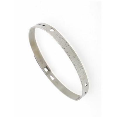 Bracelet jonc AMOUREUSE A TEMPS PLEIN acier inoxydable argent - Mile Mila
