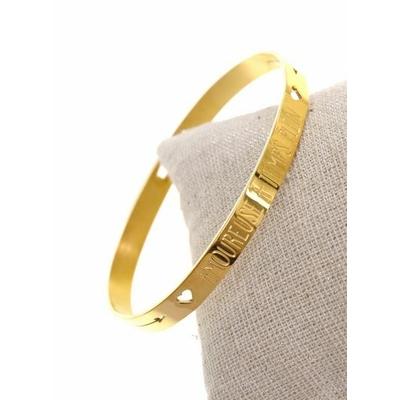 Bracelet jonc AMOUREUSE A TEMPS PLEIN acier inoxydable doré - Mile Mila
