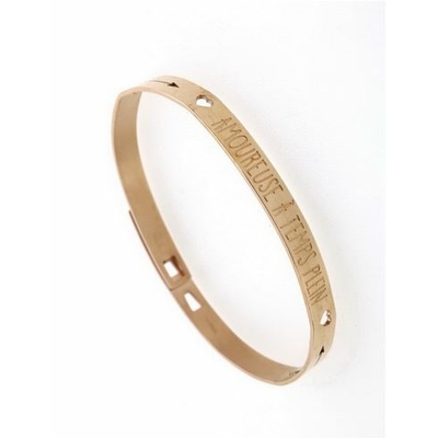 Bracelet jonc AMOUREUSE A TEMPS PLEIN acier inoxydable or rose - Mile Mila
