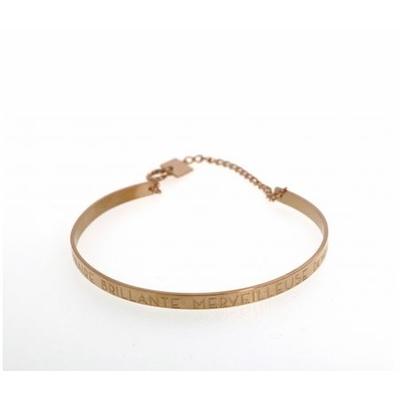 Bracelet jonc EXTRAORDINAIRE BRILLANTE MERVEILLEUSE de mère en fille acier inoxydable or rose - Mile Mila