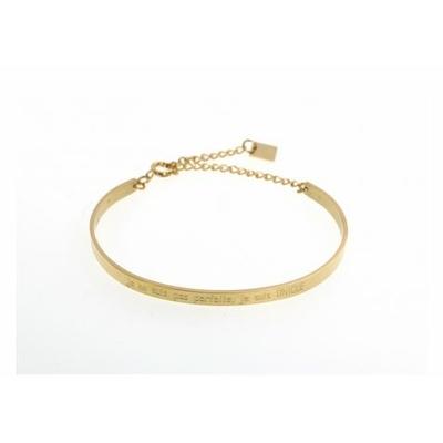 Bracelet jonc je ne suis pas parfaite, je suis UNIQUE acier inoxydable doré - Mile Mila