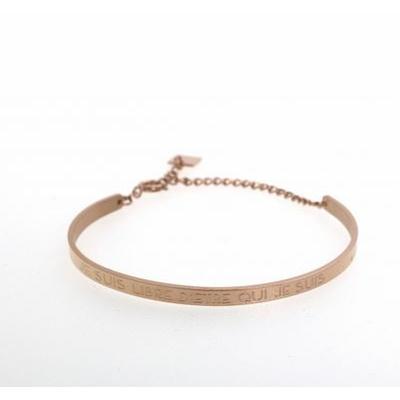 Bracelet jonc JE SUIS LIBRE D'ETRE QUI JE SUIS acier inoxydable or rose - Mile Mila