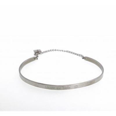 Bracelet jonc LA VIE EST BELLE acier inoxydable argent - Mile Mila