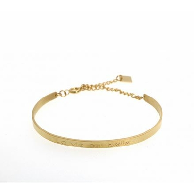 Bracelet jonc LA VIE EST BELLE acier inoxydable doré - Mile Mila