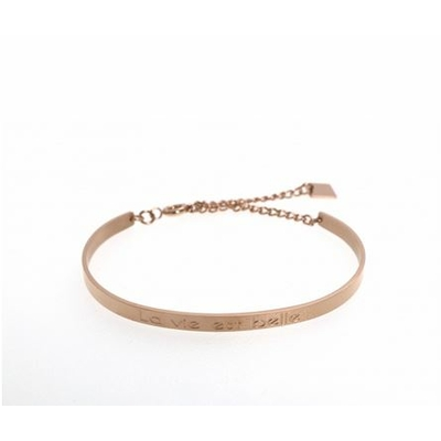 Bracelet jonc LA VIE EST BELLE acier inoxydable or rose - Mile Mila