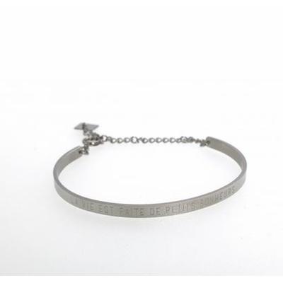 Bracelet jonc LA VIE EST FAITE DE PETITS BONHEURS acier inoxydable argent - Mile Mila