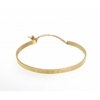Bracelet jonc MA BONNE ÉTOILE acier inoxydable doré - Mile Mila