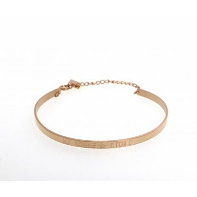 Bracelet jonc MA BONNE ÉTOILE acier inoxydable or rose - Mile Mila