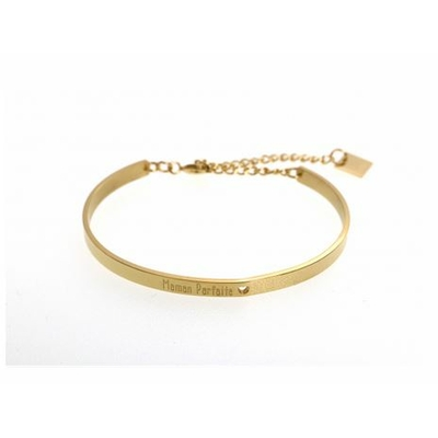 Bracelet jonc MAMAN PARFAITE acier inoxydable doré - Mile Mila