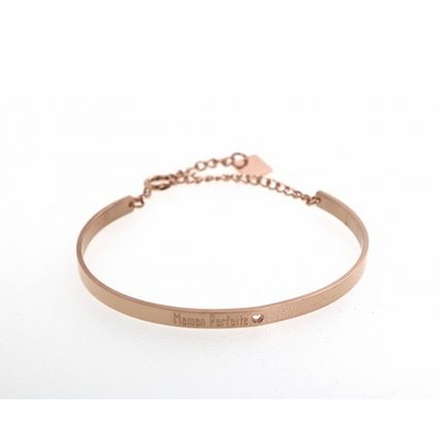 Bracelet jonc MAMAN PARFAITE acier inoxydable or rose - Mile Mila