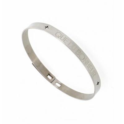Bracelet jonc QUE DU BONHEUR acier inoxydable argent - Mile Mila