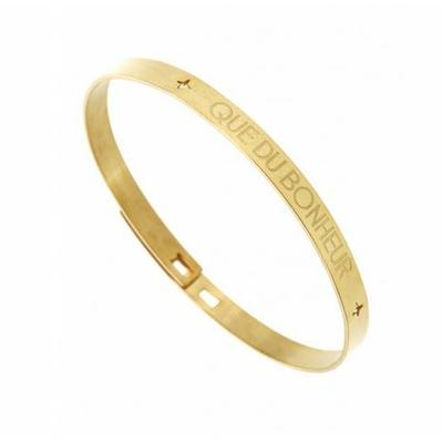 Bracelet jonc QUE DU BONHEUR acier inoxydable doré - Mile Mila