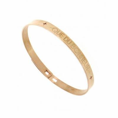 Bracelet jonc QUE DU BONHEUR acier inoxydable or rose - Mile Mila