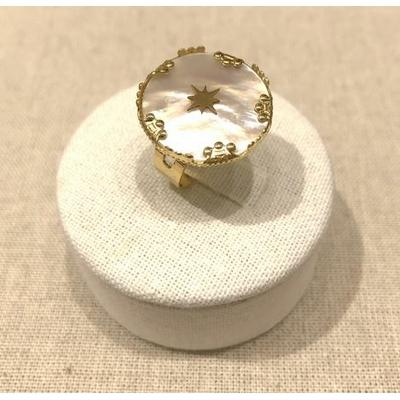 Bague réglable nacre étoile couronnes acier inoxydable doré - Milë Mila