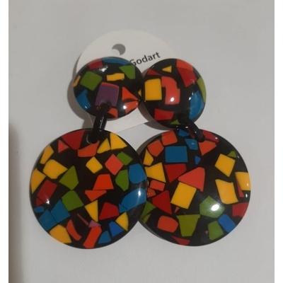 Boucles d'oreilles clips confettis multicouleurs résine noire Marion Godart