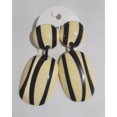 Boucles d'oreilles rectangulaires rayures noir & blanc résine Marion Godart