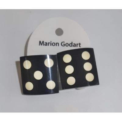 Boucles d'oreilles dés fond noir résine Marion Godart