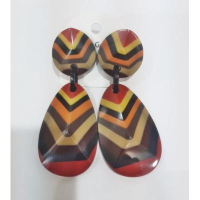 Boucles d'oreilles clips V multicouleurs marron Marion Godart
