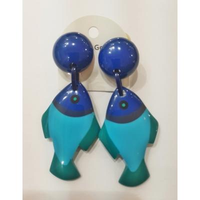 Boucles d'oreilles clips poissons bleus MARION GODART