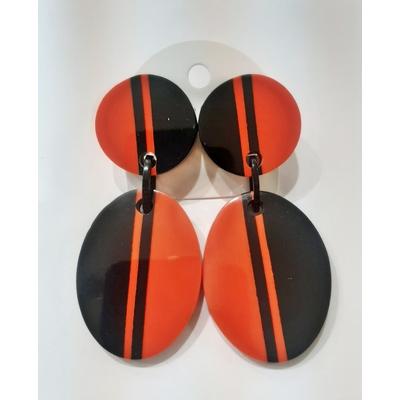 Boucles d'oreilles double ligne noir et rouge Marion Godart