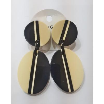 Boucles d'oreilles double ligne noir et blanc Marion Godart
