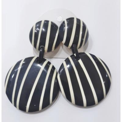 Boucles d'oreilles clips pim's noir et blanc Marion Godart