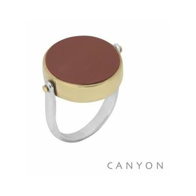 Bague en argent ronde réversible jaspe rouge et nacre grise serti laiton - Canyon