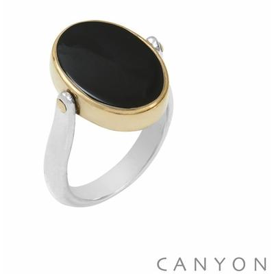 Bague argent réversible 1 côté madone et l'autre onyx noir ovale plate cerclé de laiton - Canyon