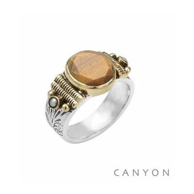 Bague argent modèle moyen oeil de tigre ovale 2 perles blanches anneaux de laiton - Canyon