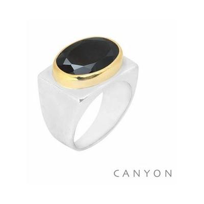 Bague argent rectangle décorée d'un onyx noir ovale serti de laiton - Canyon