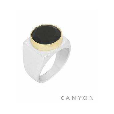 Bague argent carré décorée d'un onyx rond serti de laiton - Canyon