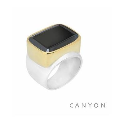 Bague argent très grand onyx noir rectangle sertie de laiton - Canyon