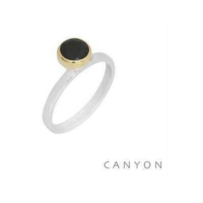 Bague argent décorée onyx noir ronde décalée sertie laiton - Canyon